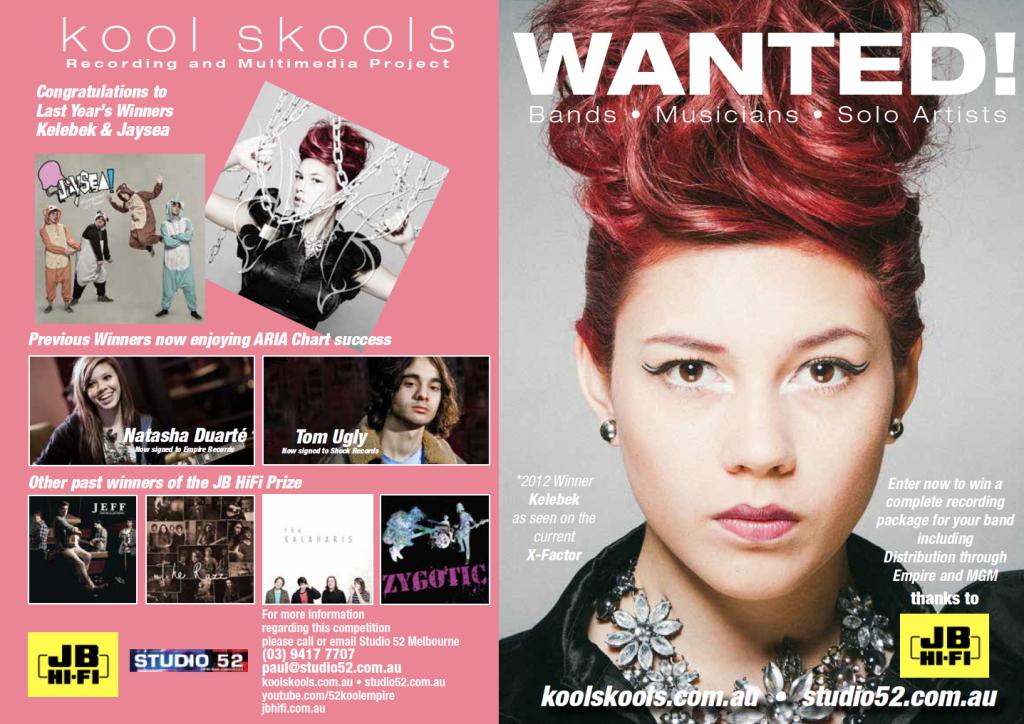 2013 JB HiFi Kool Skools Prize entry form with 2012 winner Kelebek on the front page