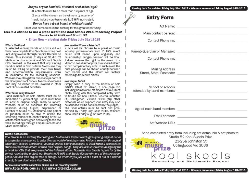 JB HiFI KS Prize entry form